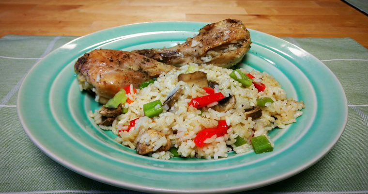 Baked Chicken w/ Fresh Peppers and Mushrooms
