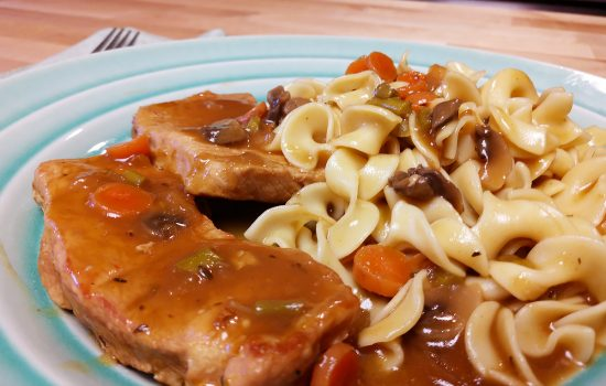 Grilled Pork w/ Rich Vegetable Gravy Over Noodles
