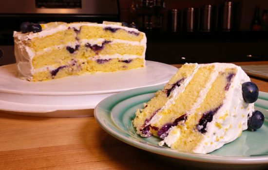 Springtime Lemon Blueberry Creamy Cake